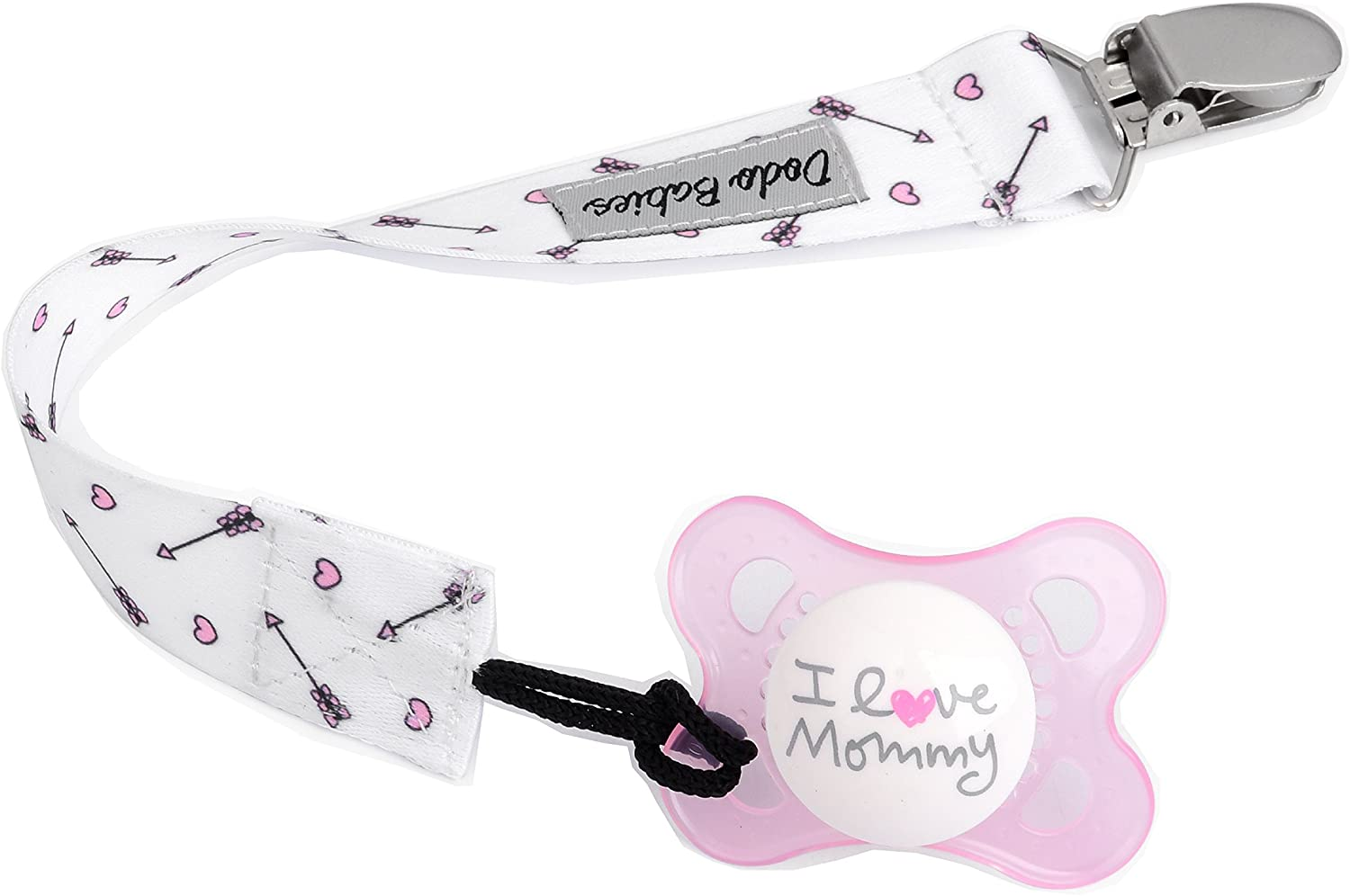 Pacifier Clip by Dodo Babies Pack of 4 Pacifier Case Premium/Â/Quality For Girls Modern Designs Universal Holder Leash for Pacifiers Teething Toy or Soothie Baby Shower Gift Set