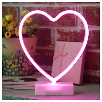 YiiY Heart Neon Sign Light, Table Decor Lamp, Battery Powered Decor ...