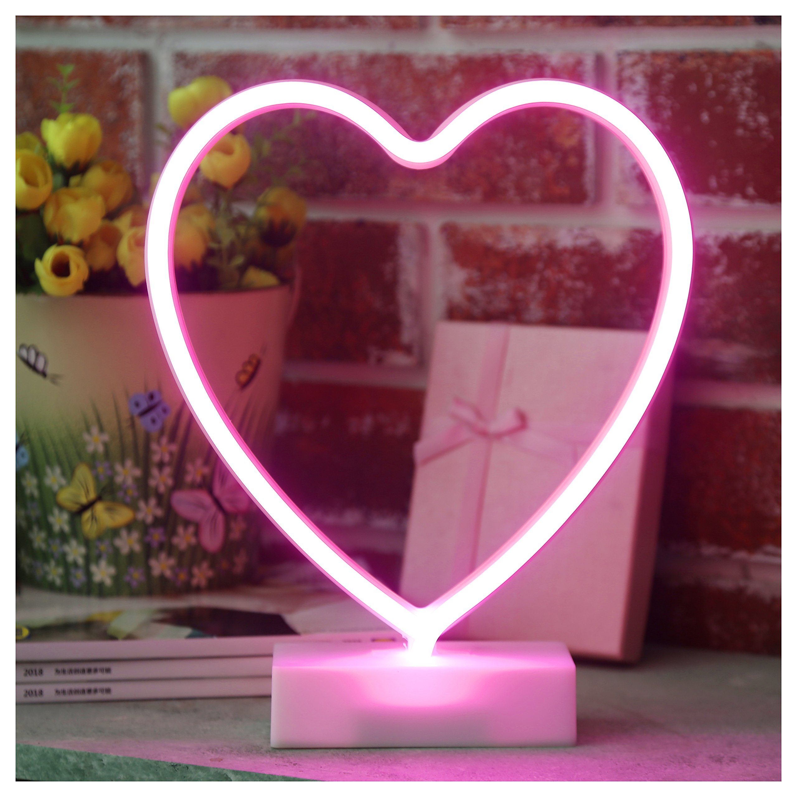 YiiY Heart Neon Sign Light,Table Decor Lamp,Battery Powered Decor for Desk,Living Room (Heart-Pink) by YiiY