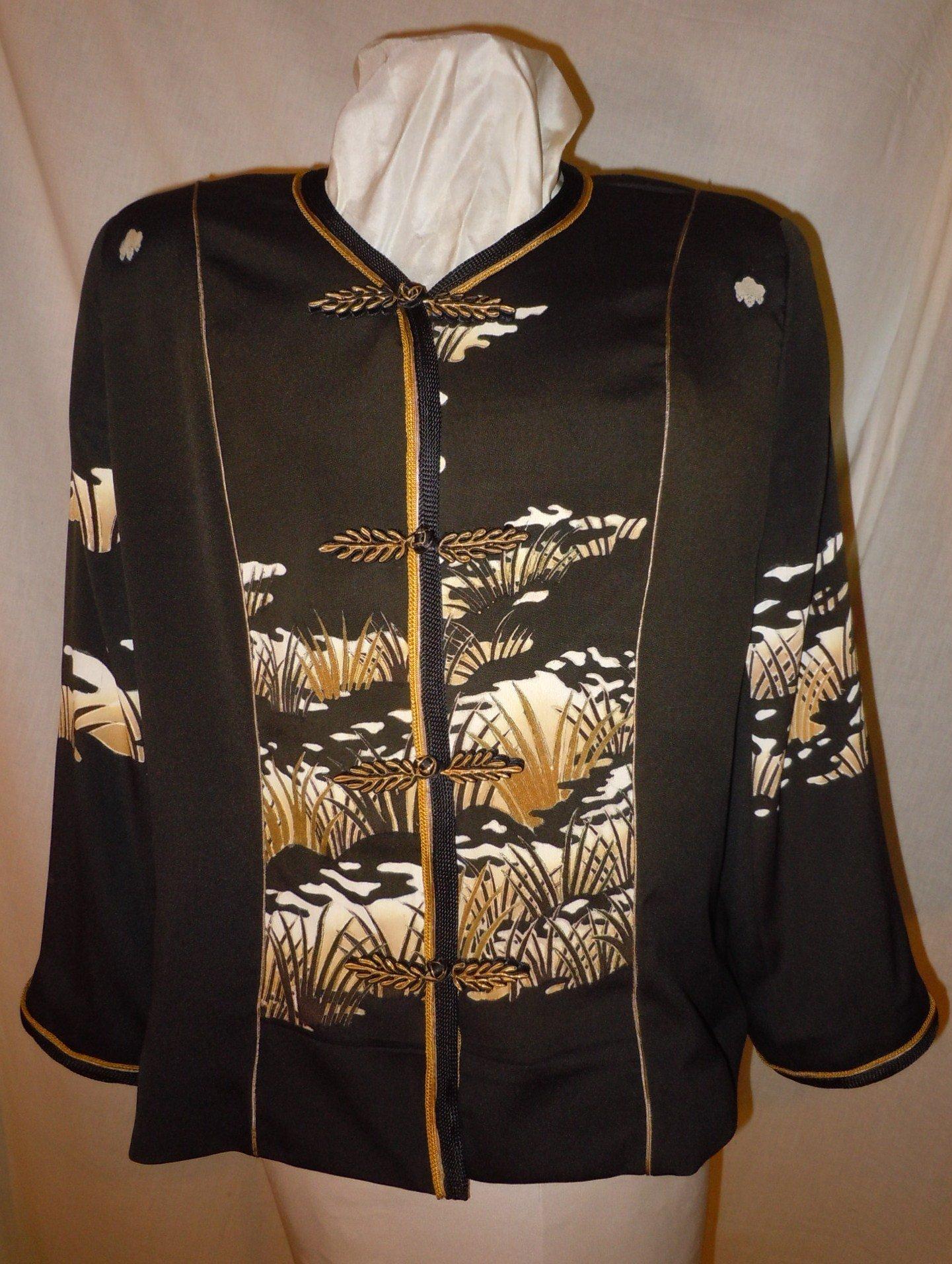 Black Silk jacket from vintage kimono, size XL petite. Asian motifs. One of a Kind #F37