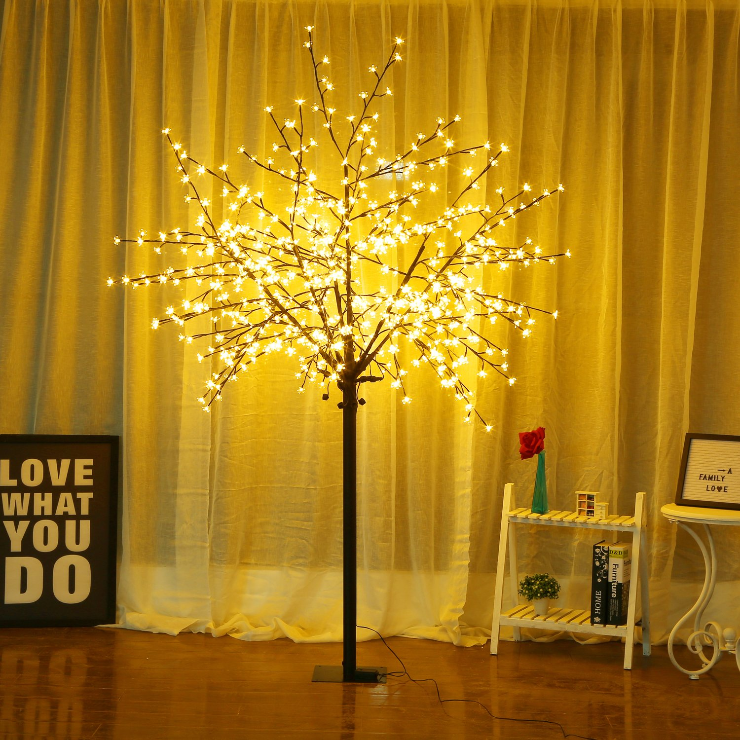 Bolylight Cherry Blossom Tree 8ft 600L LED Great Decoration for Festival/Party/Christmas Warm White