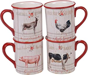 Certified International Famhouse 16 oz. Mugs,Set of 4 Assorted Designs