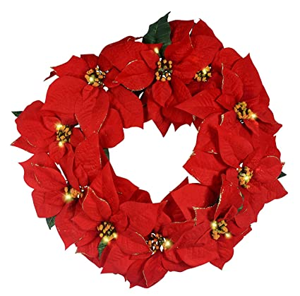 23 inch red poinsettia lighted christmas wreath golden tipped battery operated with timer artificial