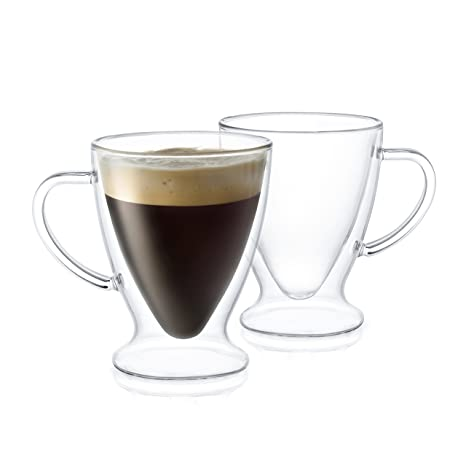 JoyJolt Declan Irish Double Wall Insulated Glasses Espresso Mugs, Set Of 2 Espresso  Cups,