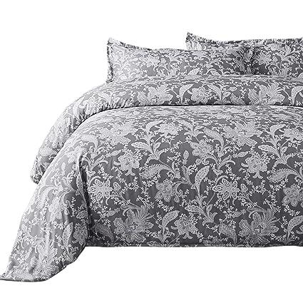 Amazon Com Bedsure Printed Floral Duvet Cover Set Full Queen Grey