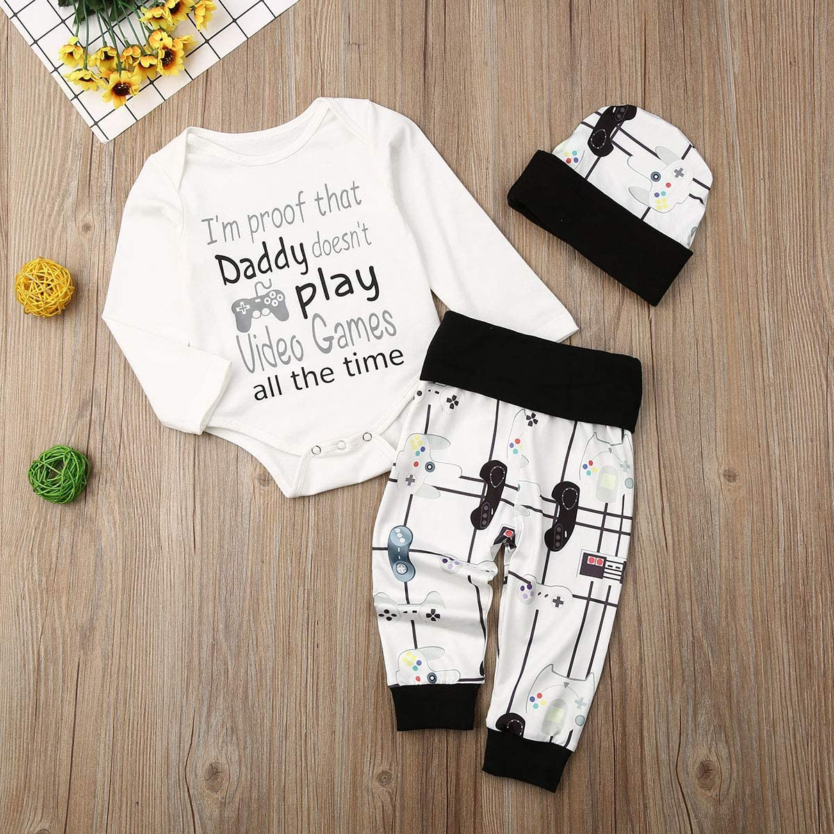 Mioliknya Newborn Baby Boys Girls Outfits Long Sleeve Cute Romper Bodysuits+Long Pants+Hat Letter Printed 3Pcs Clothes