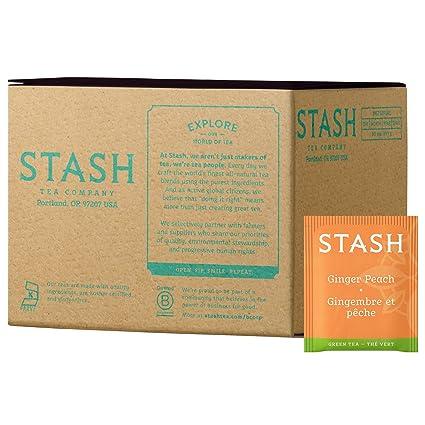 Stash Tea Té verde melocotón de jengibre, 10 bolsas de té en ...