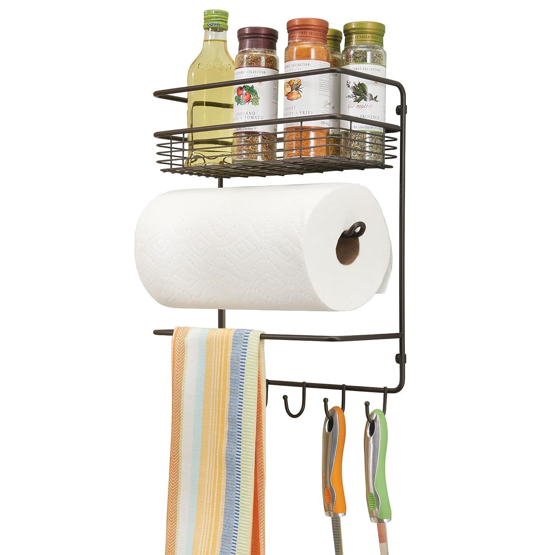 mDesign Portarrollos de cocina Pr/áctico dispensador de papel que ahorra espacio color bronce Soporte de pared met/álico para rollos de cocina con estantes para especias
