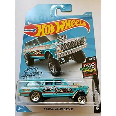 Hot Wheels Race Day 4/10 '64 Nova Wagon Gasser 198/250, Blue: Toys & Games