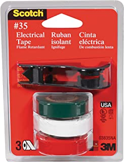 product image for Scotch Vinyl Electrical Tape with Dispenser, No.35, Green/White/Red, 3 Per Pack (03835-BA-12)