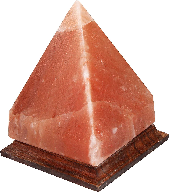 Natural Himalayan Pyramid Salt Lamp with Wood Base and Cord Light Bulb /& Authentic Pink Salt Lamp