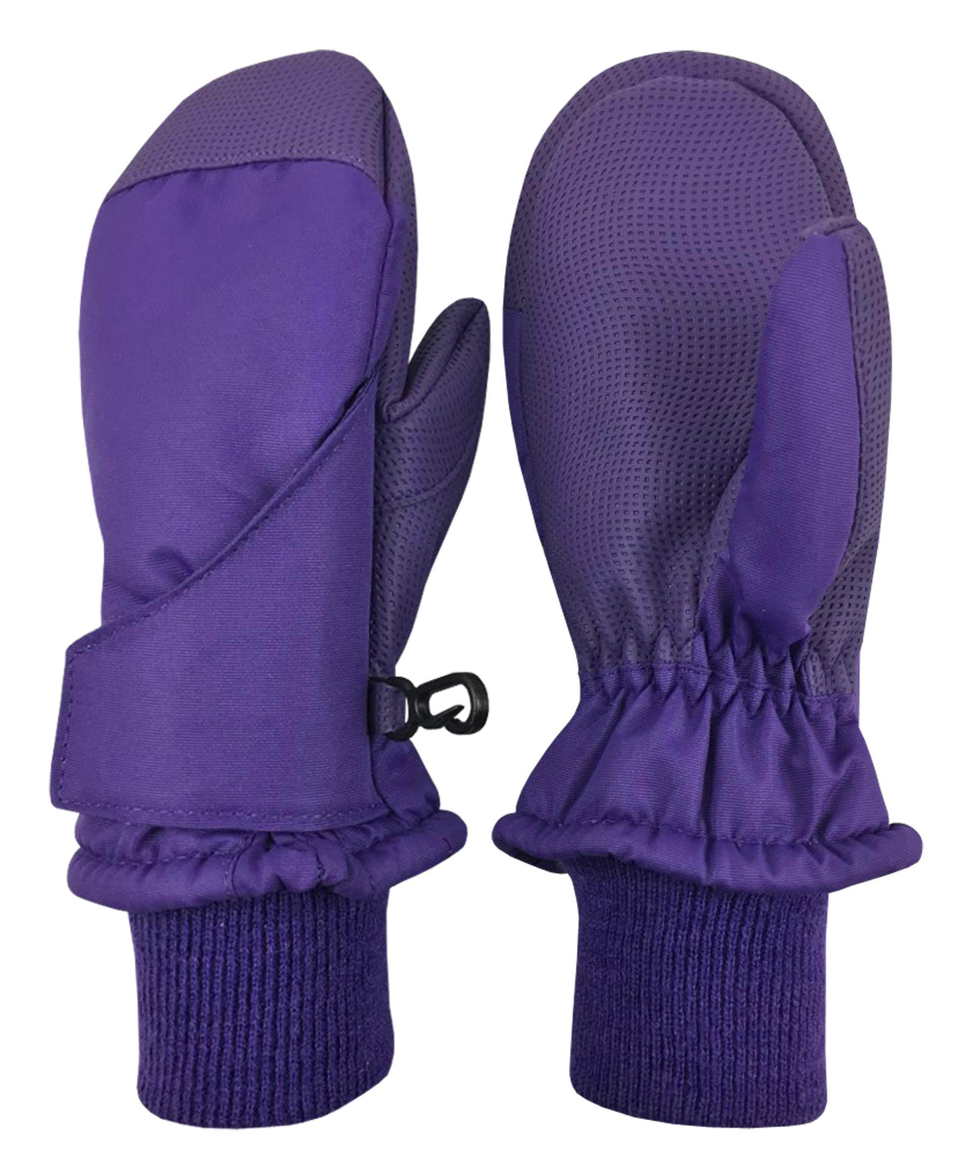 N'Ice Caps Kids and Baby Easy-On Wrap Waterproof Thinsulate Winter Snow Mitten (Purple, 1-2 Years) by N'Ice Caps