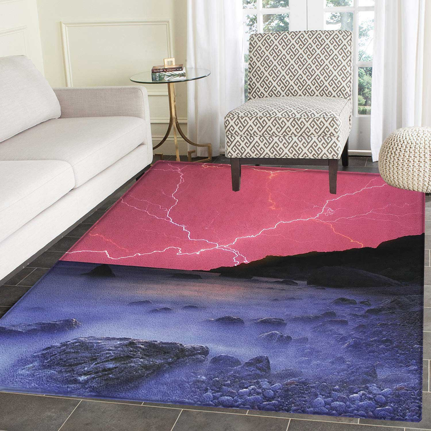 Nature Anti-Skid Area Rug Thunderstorm Bolts with Vibrant Colorful Sky Like Solar Phenomenal Nature Picture Door Mat Increase 4'x5' Pink Grey