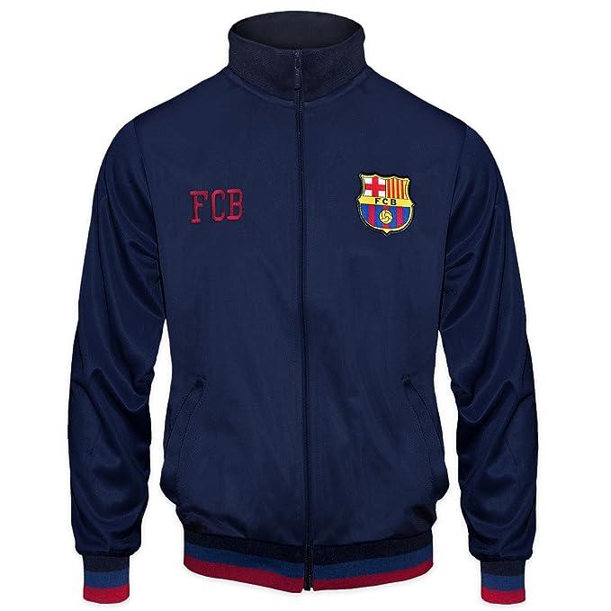 FCB FC Barcelona - Chaqueta de Entrenamiento Oficial - para niño - Estilo  Retro - Azul 649946d74c5
