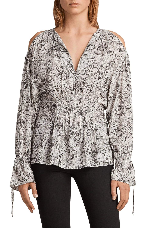 0fd6a00e8846df AllSaints Lavete Paisley Print Cold-Shoulder Top (Medium) at Amazon Women's  Clothing store: