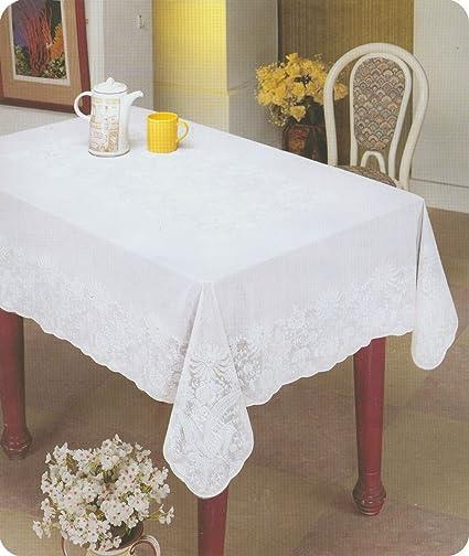 Lace Look Embossed Vinyl Tablecloth 60u0026quot; X 90u0026quot;