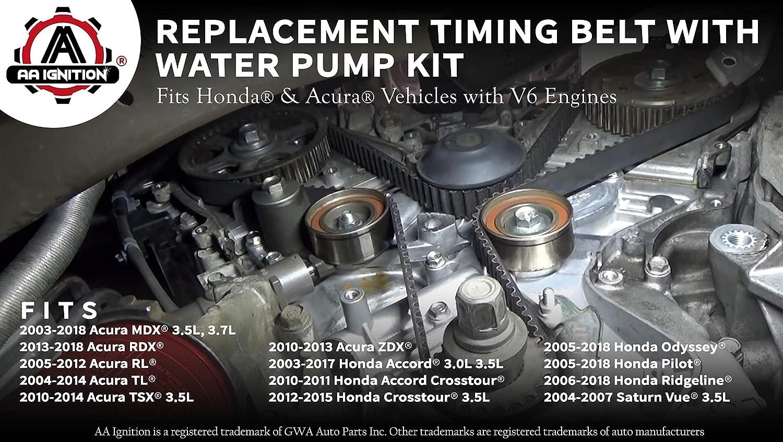 [ZSVE_7041]  Replacement Timing Belt and Water Pump Kit - Fits Honda Accord, Odyssey,  Pilot, Acura TL, RL, MDX, RDX, Saturn Vue 3.5L, 3.0L, 3.7L - Replaces  TKH002, TCKWP329, 19200-RDM-A02 19200-RDV-J01 - Tensioner: Amazon.in: | 2007 Saturn Aura 3 5 Engine Water Pump Diagram |  | Amazon.in