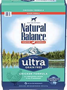 Natural Balance Original Ultra Grain Free Dry Dog Food for Senior Dogs, Chicken Formula
