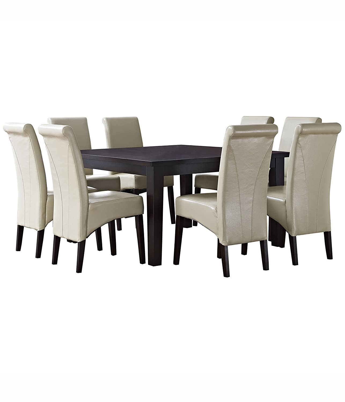 Amazon.com: Simpli Home Avalon 9 Piece Dining Set, Satin Cream: Kitchen U0026  Dining