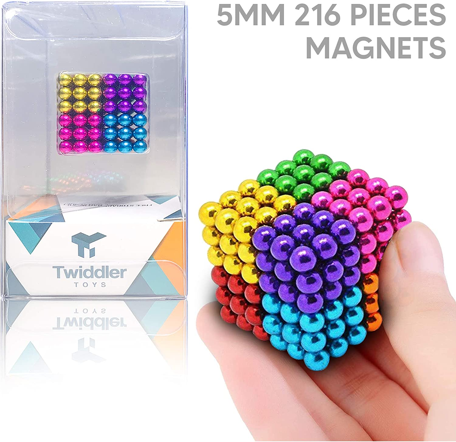 Twiddler Toys Rainbow Magnetic Balls 5mm 216pcs with Storage Bag – Colorful Satisfying Fidget Magnets Desk Toy for Adults