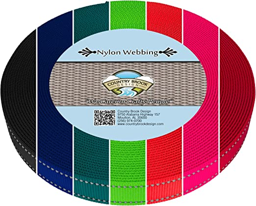 Country Brook Design® 1 Inch Red Tubular Nylon Webbing 50 Yards