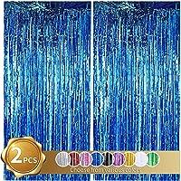 Cortinas de Oropel 2Pcs Azul Metálica Cortina de Borlas de Fondo Cortinas Fiesta Brillante Aluminio Flecos Cortinas Para…