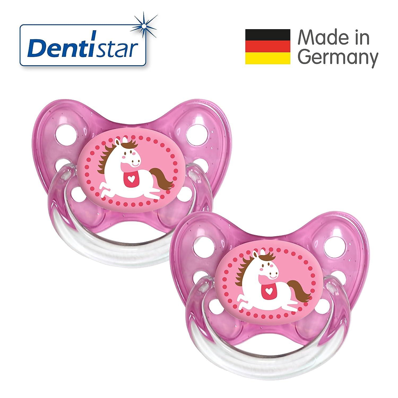 Dentistar® Silikon Schnuller 2er Set inkl. 2 Schutzkappen - Nuckel Größe 2, 6-14 Monate, zahnfreundlich und kiefergerecht | Esel Novatex GmbH