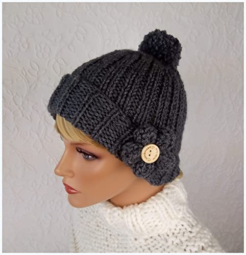 Gorro de lana para mujer. Hecho a mano. Sombrero tejido para ...