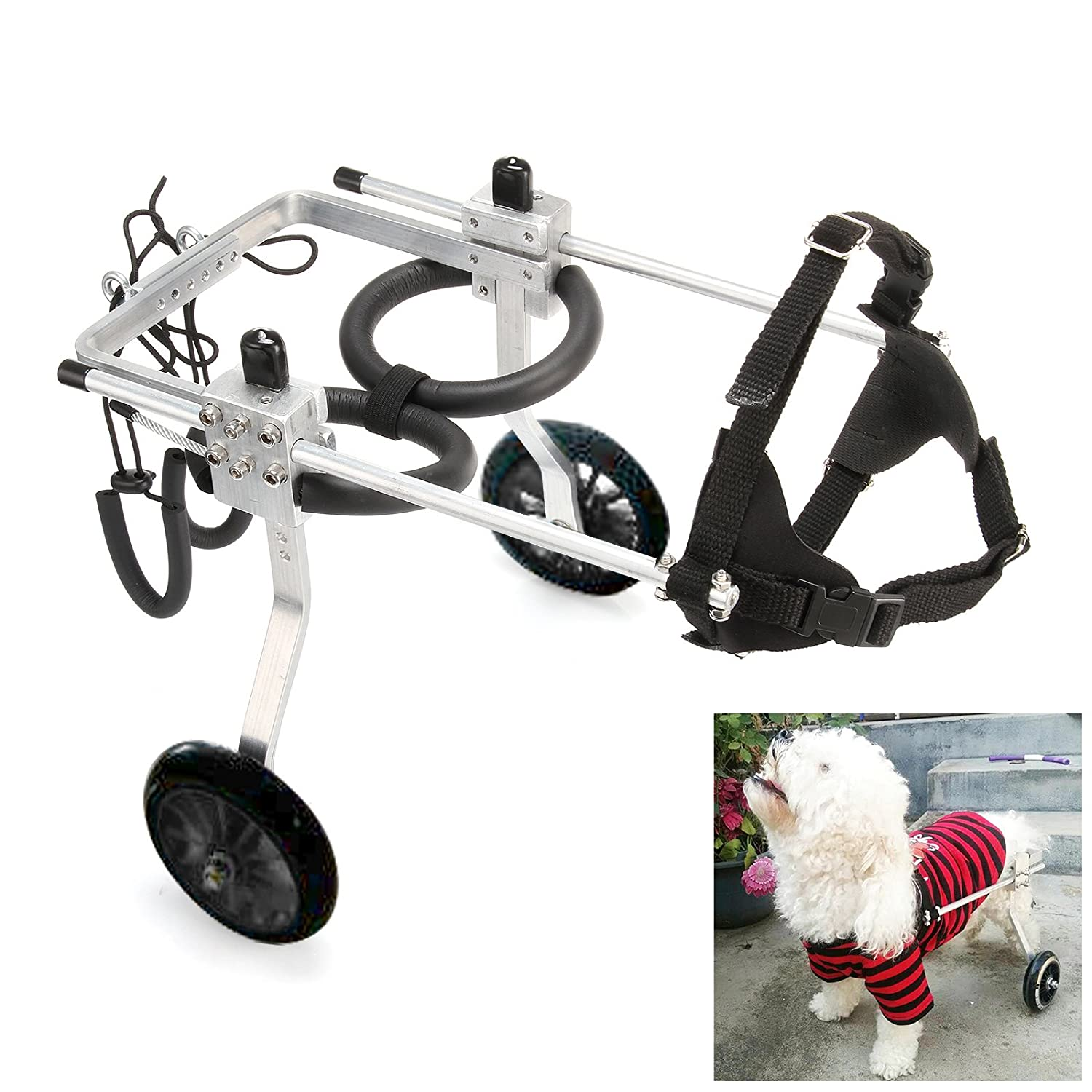 Anmas Sport Adjustable Dog Pet Wheelchair, Hind legs Rehabilitation (L-Hip Height  13 -16 , Weight 20-40lbs)