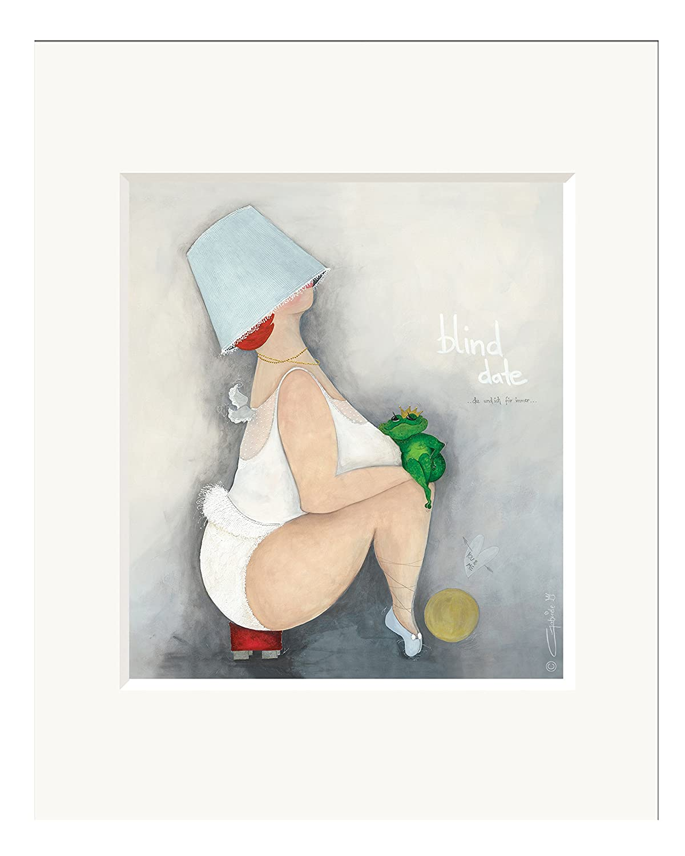 Passepartout Bild ~ Blind Date 2 ~ Druck Kunstdruck Froschk/önig Engel Frosch