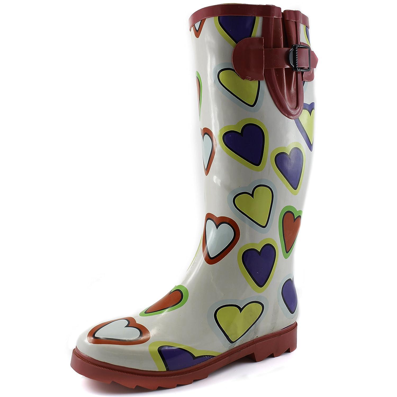 Women's Puddles Rain and Snow Boot Multi Color Mid Calf Knee High Waterproof Rainboots B00MI5QJNM 5 B(M) US|Multi Heart