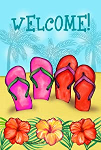 Toland Home Garden Sandy Sandals 12.5 x 18 Inch Tropical Flower Summer Sandal Beach Flip Flop Garden Flag