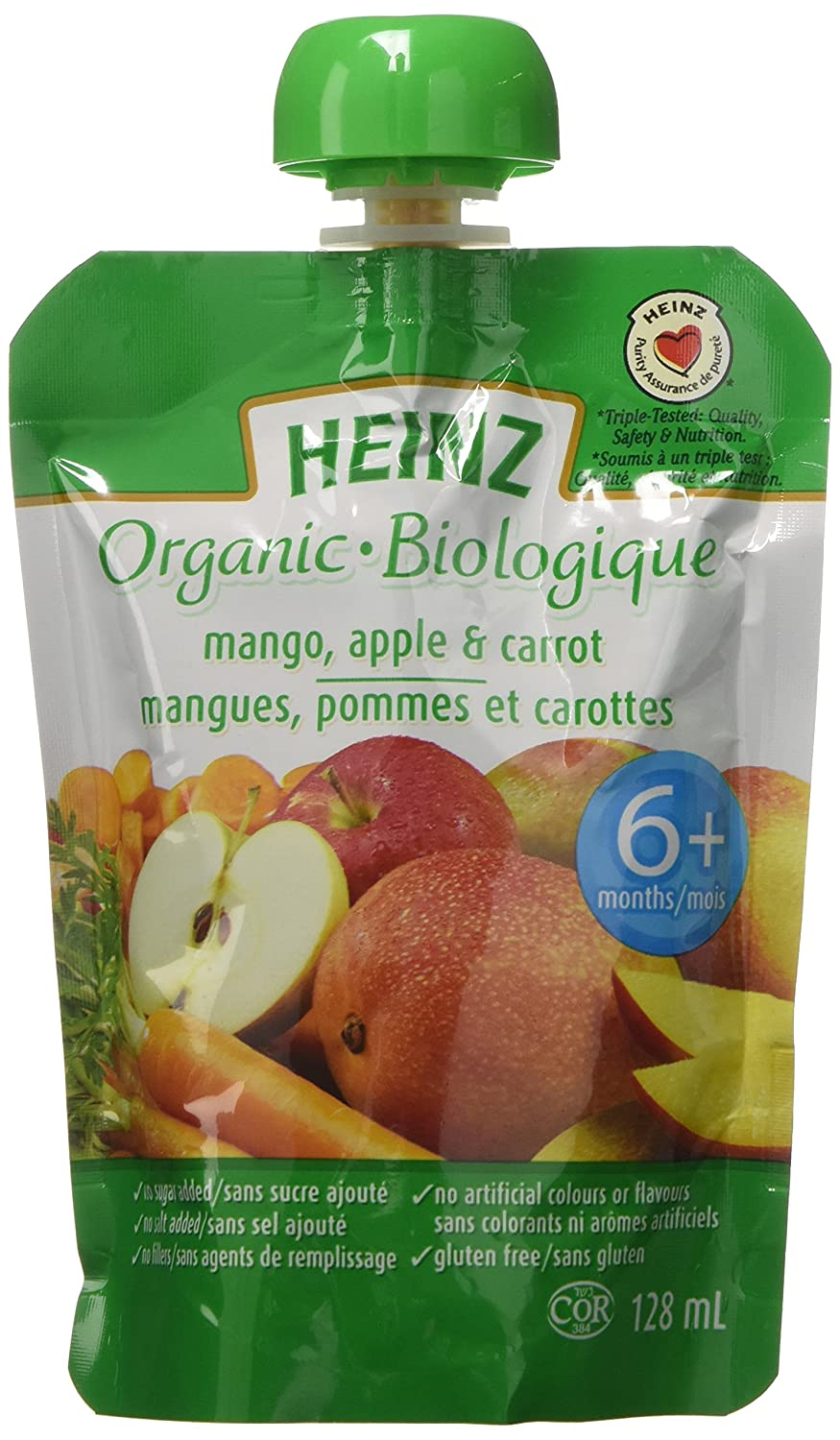 HEINZ Strained Organic Peach Banana Apricot Pouch, 6 Pack, 128ML Each Kraft Heinz Canada ULC