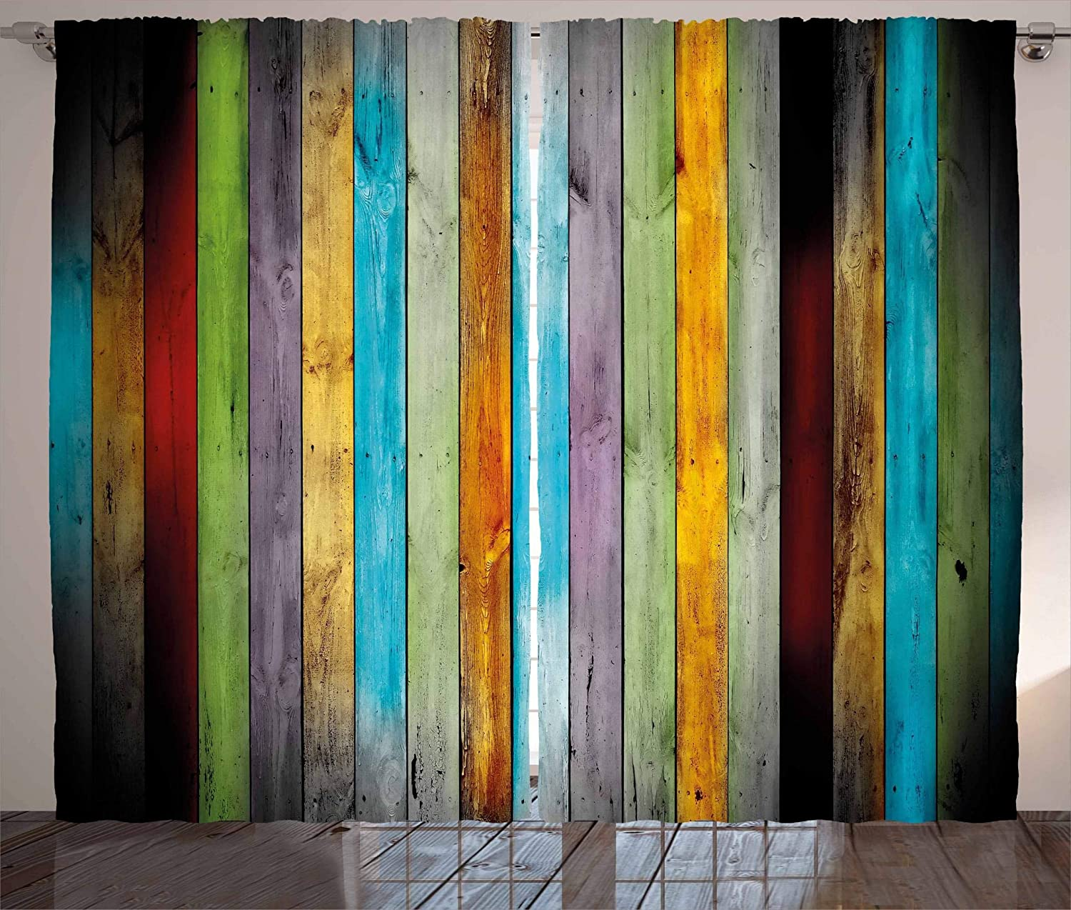 Lunarable Colorful Curtains, Vertical Wood Planks in Different Colors Carpentry Oak Timber Rustic Country Life, Living Room Bedroom Window Drapes 2 Panel Set, 108 W X 63 L Inches, Multicolor