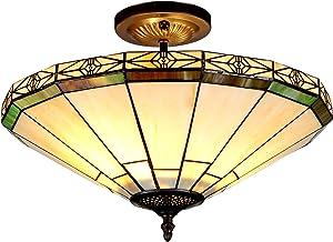 "Chloe Lighting CH31315MI16-UF2 Belle Tiffany Style Mission 2-Light Semi Flush Ceiling Fixture with Shade, 11.2 x 15.9 x 15.9"", Bronze"