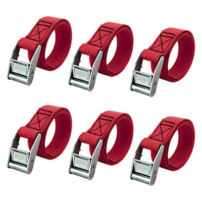 RilexAwhile Lashing Straps 2 Ft x 1 Inch Tie Down Straps up to 600lbs, 6 Pack (Red) | Luggage Straps