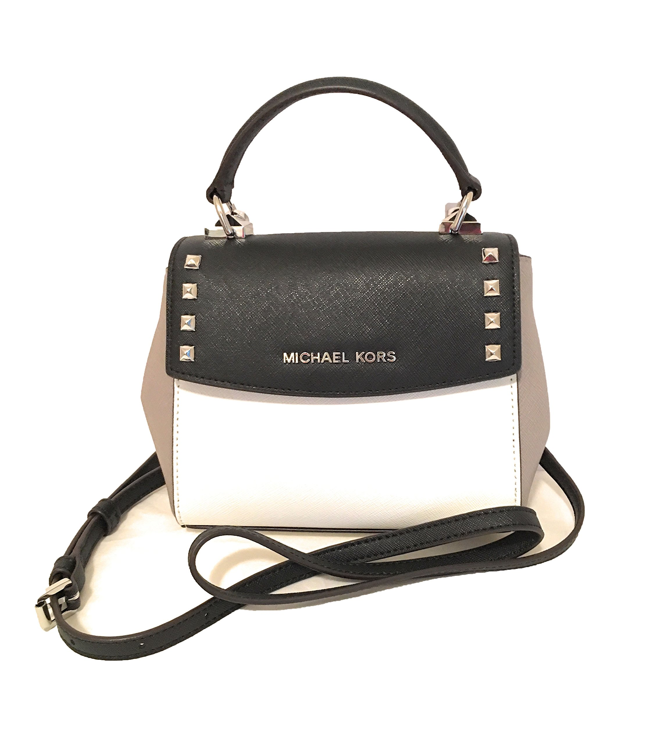 9f3cb98e2c36 Galleon - Michael Kors Karla Mini Convertible Saffiano Leather Crossbody  Handbag (Black/White)
