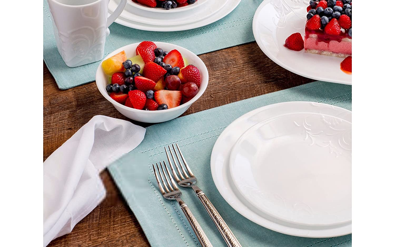 Amazon.com: Corelle Boutique Cherish Round 42-pc Dinnerware Set: Home &  Kitchen