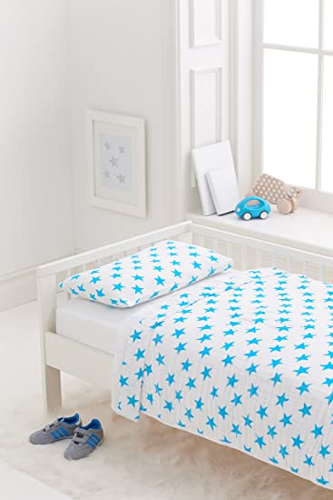 aden + anais Classic Toddler Bed in a Bag - Fluro Blue Kids Bedding Sets: Toddler Bedding, Toddler Pillow, Cotton Blanket