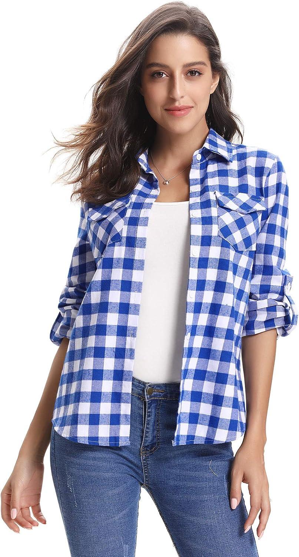 Abollria Women's Roll up Long Sleeve Boyfriend Button Down Plaid Flannel Shirt (S-XXL