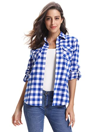 78b5f4566dbf Abollria Women s Roll up Long Sleeve Boyfriend Button Down Plaid Flannel  Shirt (Blue White