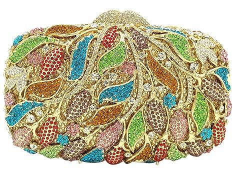 Noche Bolsas Bolso Mujer Fiesta Boda Carteras Brillo Mano Diamantes Cadena Embrague Dorado