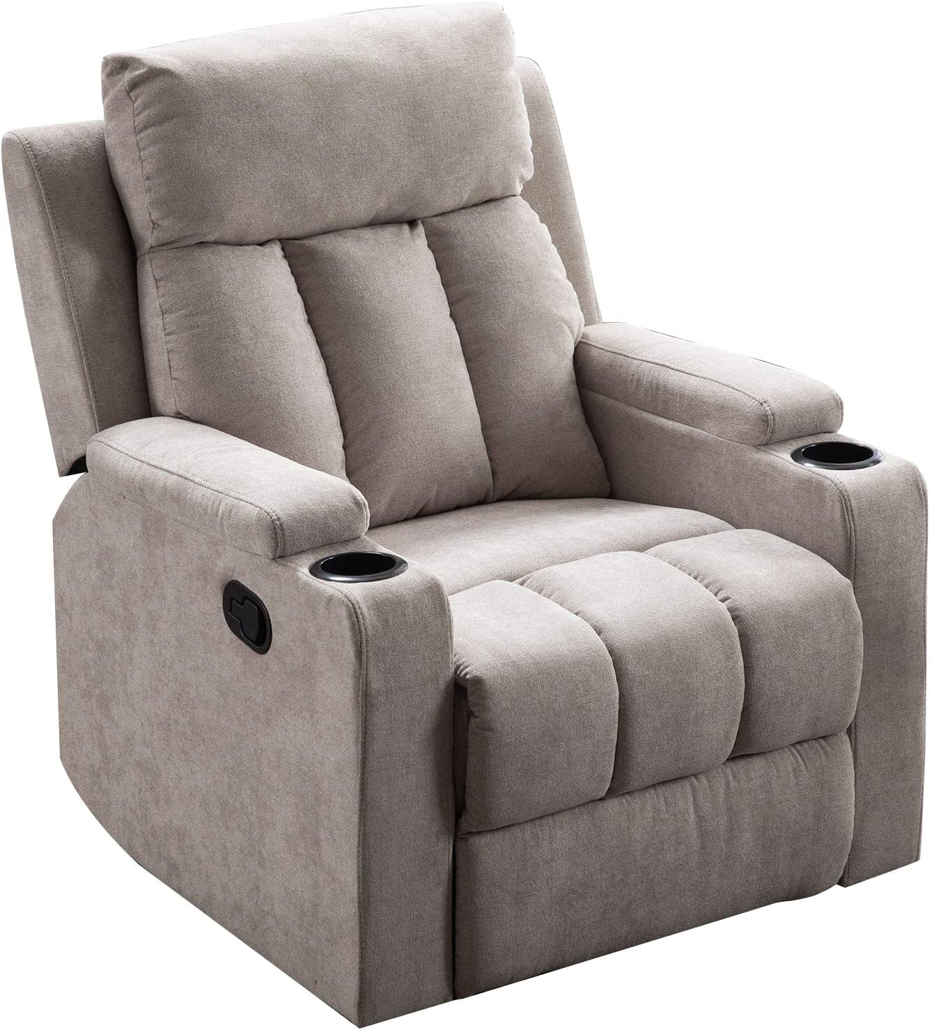 Merax Recliner Chair Lazy Boy Sofa, Manual Ergonomic Design with Overstuffed Armrest, Footrest and 2 Cup Holders for Theater, Living Room, Light Grey