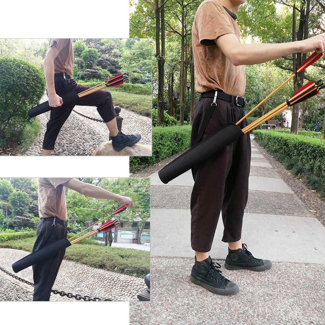 KRATARC Archery Arrows Tube Hip Quiver Waist Hanged Carry Bag