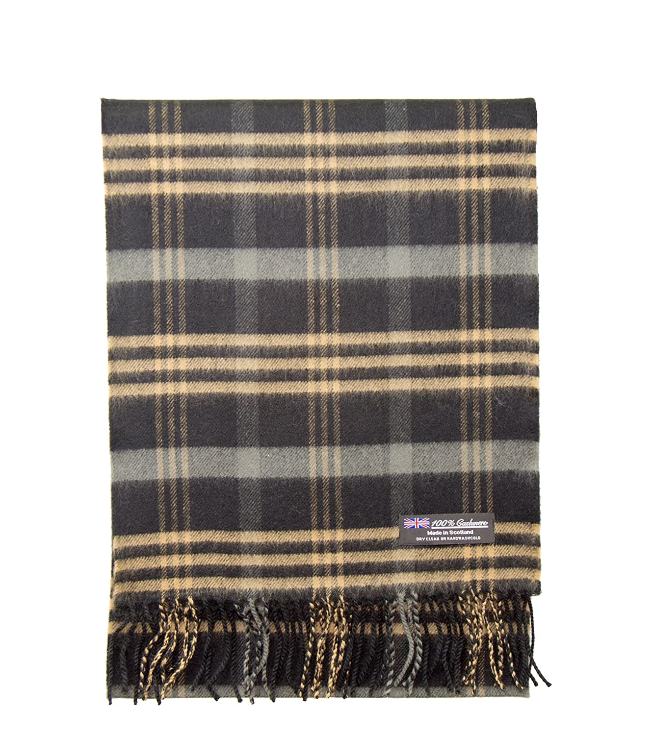 e1050af68 2 PLY 100% Cashmere Winter Scarf Elegant Collection Made in Scotland Warm  Soft Wool Solid Plaid (Black Camel 313) at Amazon Men's Clothing store: