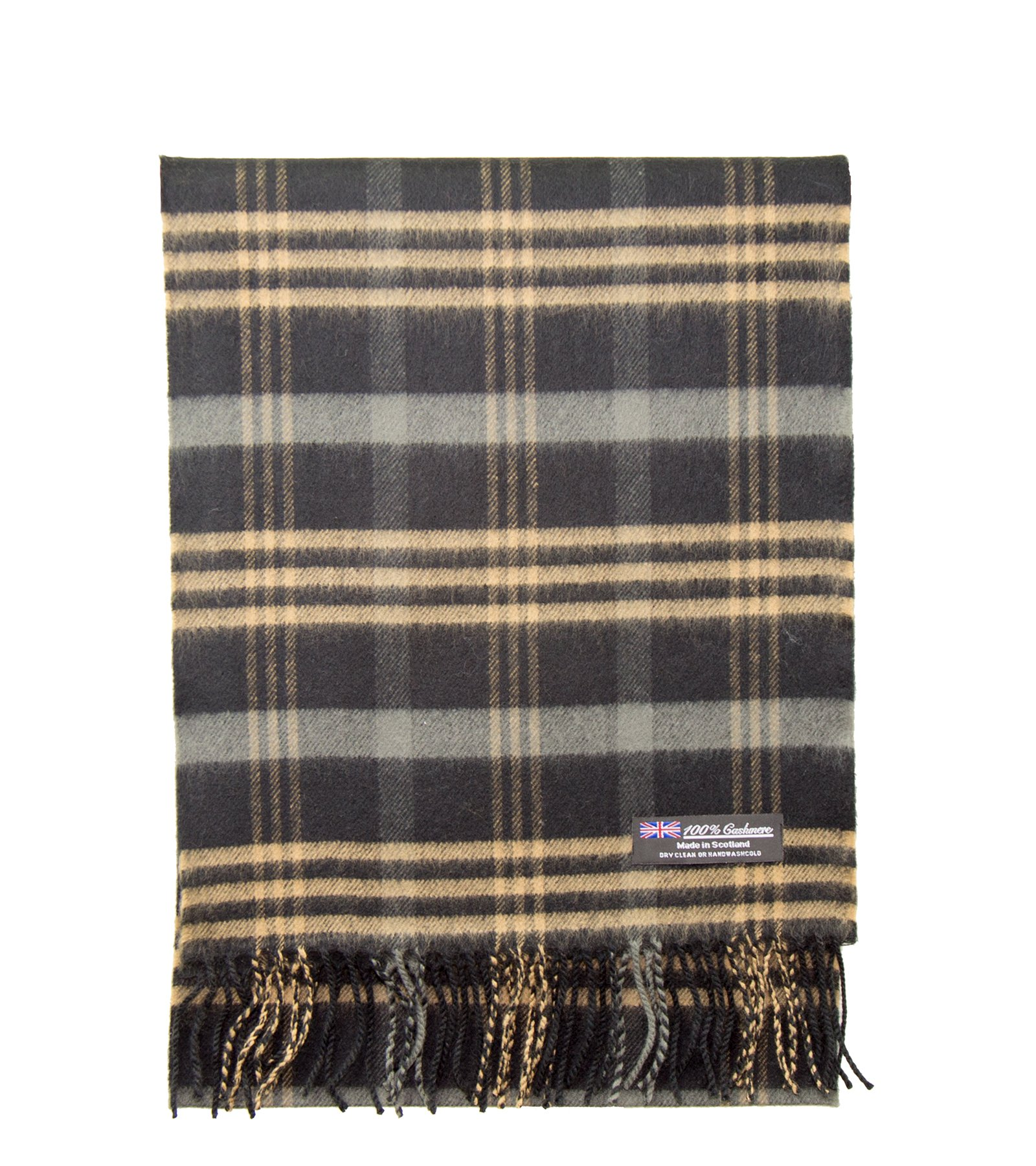2 PLY 100% Cashmere Winter Scarf Elegant Collection Made in Scotland Warm Soft Wool Solid Plaid (Black Camel 313)