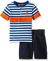 U.S. Polo Assn. Little Boys' Striped Henley with 5 Pocket Denim Short