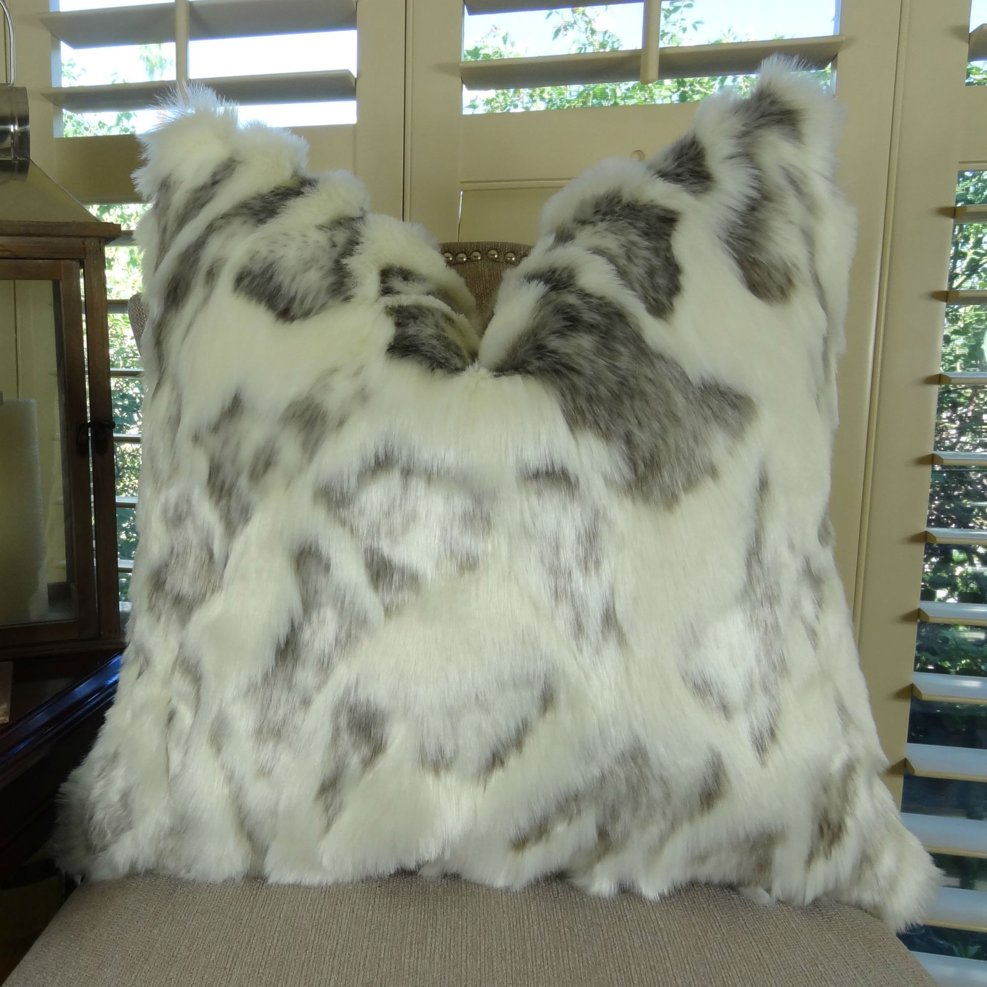 Thomas Collection luxurious throw pillows, handmade throw pillows, Ivory Gray Rabbit High Low Pile Luxury Faux Fur Throw Pillow, COVER ONLY, NO INSERT, Handmade in USA, 17428