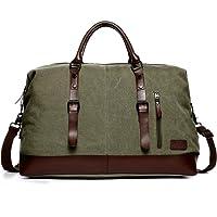 Fresion Uniex Segeltuch Handgepäck Tasche Canvas Leder Reisetasche Groß Sporttasche Duffel Bags für Herren/Männer/Damen/Frauen
