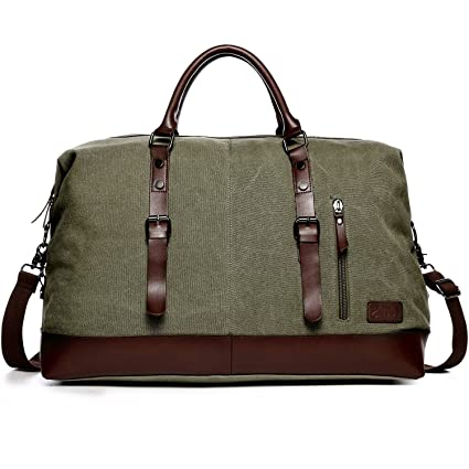 Ladies Canvas Holdall, Fresion Large Vintage Duffle Bags Unisex Hand  Luggage Fight Bag for Weekend Overnight Outdoor Travel(Army Green)   Amazon.co.uk  ... 1bfe240a82